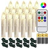 Hengda 30 Stück LED Weihnachtskerzen mit Fernbedienung RGB Kerzen Lichterkette mit...