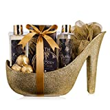 accentra Luxury Badeset Geschenkset in wunderschönem goldenem Glitzer Pumps,...
