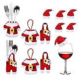 MELARQT Weihnachten Bestecktasche Weihnachtlicher Zierschmuck, 12pcs Weihnachtsmann...