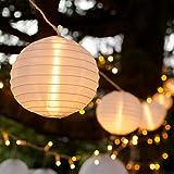 Lights4fun 2X 10er XL LED Lampion Lichterkette warmweiß Strombetrieb Innen Außen