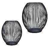 CPROSP Kerzenständer Schwarz 2er Set, 15 * 17/17 * 19cm, Vernetzartig aus Eisen,...