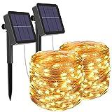 [2 Stück] Solar Lichterkette Aussen, Litogo 12M 120 LED Lichterkette Außen...