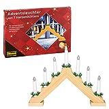 Idena 8582068 - Adventsleuchter aus naturfarbenem Holz mit 7 Kerzenlichtern,...