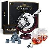 Whiskeyglas, kugelförmige Whisky-Karaffe Globus Segelschiff 930 ml mit Eisstein, 2...