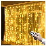 LED Lichtervorhang 3m x 3m, 300 LEDs USB Lichterkettenvorhang IP65 Wasserfest 8 Modi...