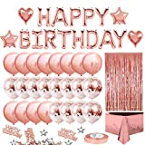iZoeL Geburtstagsdeko Rosegold Happy Birthday Girlande 24 Konfetti Ballons Tischdecke...