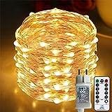 [220 LED] Lichterkette, 25M 8 Modi lichterkette außen strom lichterketten...