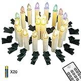 Yorbay 20er kabellose LED Kerzen Weihnachtsdeko IP64 wasserdicht RGB&Warmweiß mit...