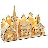 WeRChristmas Dorf aus Holz mit Kirche, 35 cm, beleuchtet, Weihnachtsdekoration, mit...