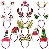 8 x Weihnachts-Stirnbänder mit Elfenmotiv, Rentier-Geweih, Weihnachtsbaum, Glocken,...