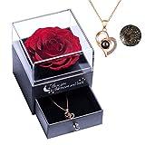 Yamonic Echte Rose mit Liebe Sie Halskette Schmuck Geschenk für sie, Ewige Liebe...