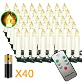 Aufun LED Weihnachtskerzen mit Fernbedienung 40 Stück mit Batterien LED Kerzen...