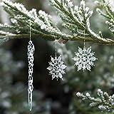 Naler 30-teilig Schneeflocken Eiszapfen Weihnachtsdeko Christbaumschmuck aus Acryl...