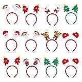 12 Stück Weihnachten Stirnband, ASANMU Weihnachts-Haarreifen Weihnachtsmann,...