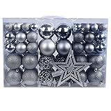 YILEEY Weihnachtskugeln Weihnachtsdeko Set Silber und Grau 101 STK in 9 Farben,...