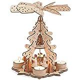 matches21 Weihnachtspyramide 1-stöckig Tannenbaum & Engel für Teelichter Holz...
