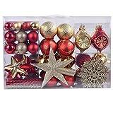YILEEY Weihnachtskugeln Weihnachtsdeko Set Gold und Rot 108 STK in 19 Farben,...