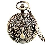 XTQDM Taschenuhr,Bronze Hollow Peacock Design Quarz Taschenuhr Exquisite Halskette...