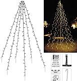Fahnenmast Beleuchtung 10x 8 Meter - Lichterkette für Bäume Pavillions 360 LED IP44