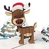 PaperCrush® Pop-Up Karte Weihnachten Rentier - Lustige 3D Weihnachtskarte für...