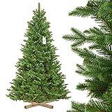 FairyTrees künstlicher Weihnachtsbaum NORDMANNTANNE Edel, Spritzguss & PVC, Ständer...