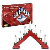 Idena 8582030 Adventsleuchter aus rot lackiertem Holz mit 7 Kerzenlichtern, inklusive...