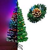 Künstlicher Glasfaser Weihnachtsbaum 180 cm mit LED Beleuchtung und echten...