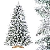 FairyTrees Weihnachtsbaum künstlich FICHTE, Natur-Weiss mit Schneeflocken, Material...