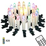 Yorbay 20er kabellose LED Kerzen Weihnachtskerzen IP64 wasserdicht RGB&Warmweiß mit...