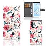 B2Ctelecom Handyhüllen für Huawei P30 Pro Schutzfolie Schmetterling Rosen -...