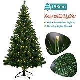 OUSFOT Weihnachtsbaum Künstlich 198cm mit 320er LED Lichterkette 8 Beleuchtungsmodi...