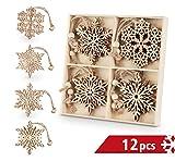 Sweelov 12 Stück Christbaumanhänger Holz Schneeflocke Holz-Anhänger Eiskristalle...