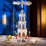 Spielwerk Weihnachtspyramide XL Classic Weiß 4-stöckig drehbar Holzpyramide aus...