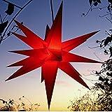 Außenstern, Faltstern mit LED (auswechselbar!) rot wetterfest 55 cm, (DUH-E14-3,5W),...