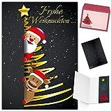 Weihnachtskarten mit Umschlag (15er Set) SANTA & RENTIER - edle Klappkarten ideal...