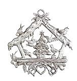 Zinngeschenke Vogelhäuschen beidseitig von Hand patiniert als Zinnfigur (HxB) 6,3 x...