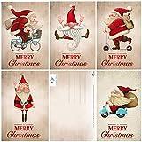 15 Lustige Weihnachtskarten/Set mit 5 witzigen Weihnachtsmann-Motiven / 5 Motive x 3...