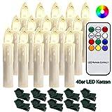 Hengda 40 Stück LED Weihnachtskerzen mit Fernbedienung RGB Kerzen Lichterkette...
