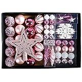 YILEEY Weihnachtskugeln Weihnachtsdeko Set Rosa 68 STK in 14 Farben, Kunststoff...