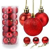 O-Kinee Weihnachtskugeln Rot, 24 Stücke Christbaumkugeln Kunststoff, Kugeln...