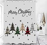 M&W DasDesign Duschvorhang weiß hellgrau Weihnachtsbaum Badezimmer Textil Vorhang...