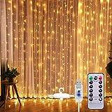 Lichtervorhang Vorhanglichter, Sunnest 300 LED USB Lichterkette Lichterkettenvorhang...
