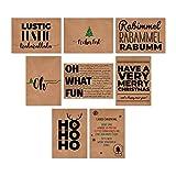 16 Postkarten Weihnachtskarten Kraftpapier 16er SET Karten zu Weihnachten – DIN A6...