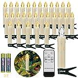 30er LED Weihnachtskerzen Kabellos, Warmweiß Christbaumkerzen Kabellos, led kerzen...