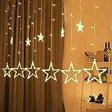 Lichterkette mit LED Kugel weihnachtsdeko,12 Sterne Lichtervorhang,...