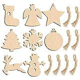HAKACC 80 Stück Weihnachts Holzanhänger, Holzscheiben Holz Weihnachtsschmuck...