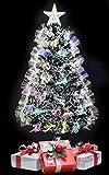 TruWare Weihnachtsbaum LED Glasfaser Farbwechsler inkl. Metallständer | Tannenbaum...