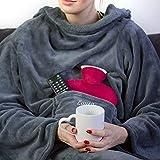 Personalisierte Kuscheldecke mit Namen (Light Grey) - Decke mit Ärmeln | Mit...