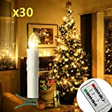 30er LED Kerzen Timer mit Fernbedienung, Weihnachtskerzen, IP64 Dimmbar Kerzenlichter...