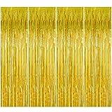4 Stück Gold Folie Fransen Vorhang, 1 x 2 m Metallic Tinsel Lametta Vorhänge Photo...